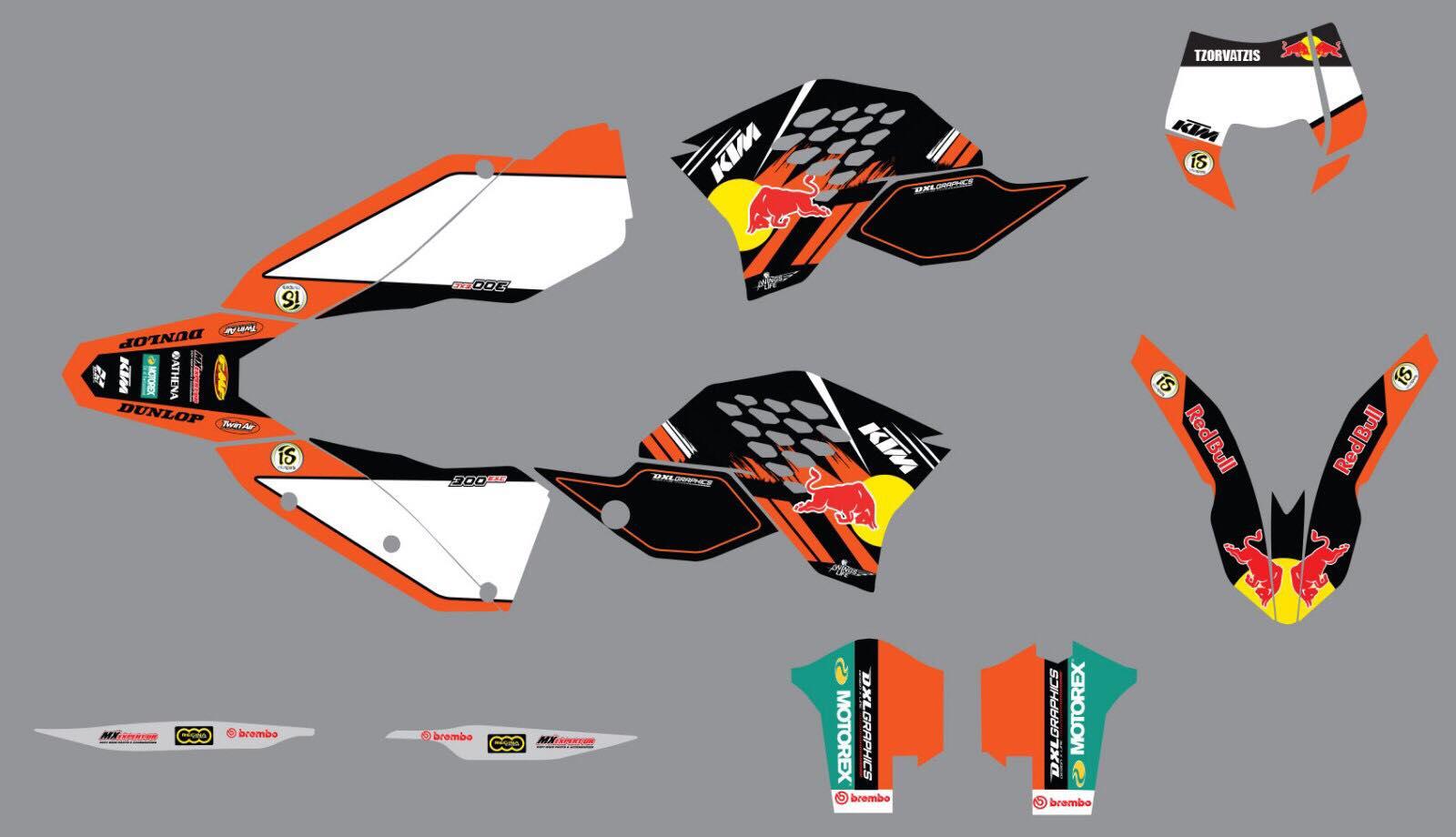 ΣΕΤ ΑΥΤΟΚΟΛΛΗΤΑ RED BULL KTM SXF EXCF SX 125-450 2007-2011