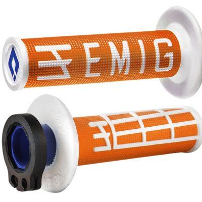 ΧΕΙΡΟΛΑΒΕΣ GRIPS odi emig V2 2T 4T racing-lock-on-motocross πορτοκαλί λευκό